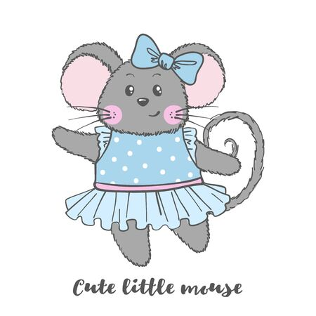 Cute Mouse character in blue dress isolated on white background. Design element for print, poster, t-shirt, nursery. Vector illustration.