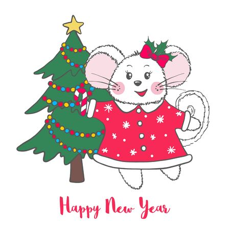 New Year and Christmas greeting card with cute Mouse with fir tree isolated on white background. Zodiac rat of 2020 chinese year. Vector illustration.