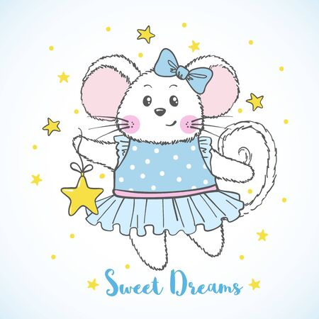 Cute Mouse character in blue dress with star isolated on white background. Design element for print, poster, t-shirt, nursery. Vector illustration.