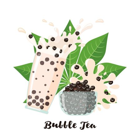 Bubble milk tea tapioca balls and leaf in flat style isolated on white background. Beverage from cassava plant. Vector illustration
