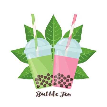 Bubble milk tea tapioca balls and leaf in flat style isolated on white background. Beverage from cassava plant. Vector illustration Banque d'images - 130808913