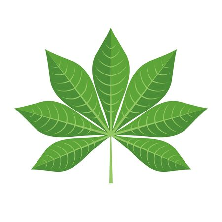 Green Cassava Leaf Icon in flat style isolated on white background. Vector illustration.