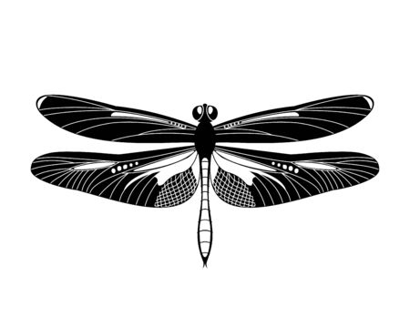 Black dragonfly icon isolated on white background, Design element for print templates, websites, web and mobile phone apps. Vector illustration.