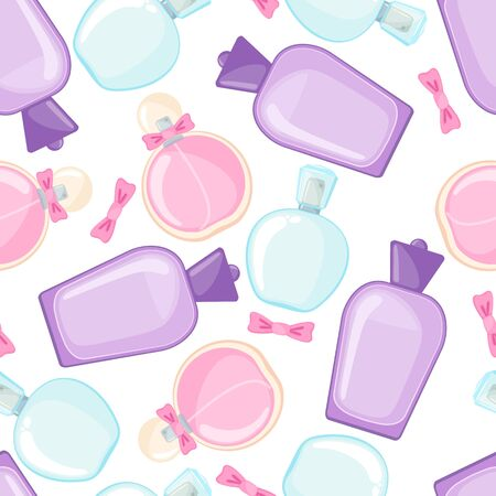 Seamless pattern with perfume bottle in flat style isolated on white background. Vector illustration.