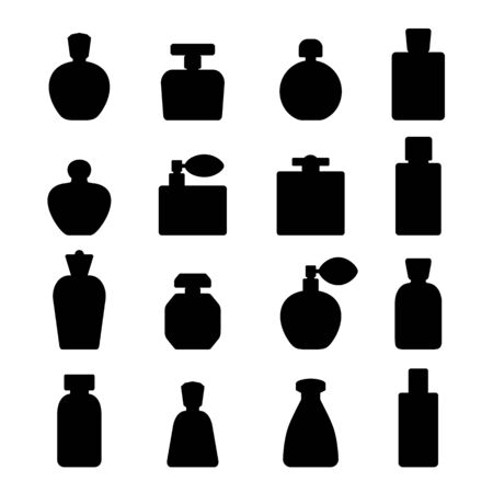 Perfume silhouette icons isolated on white background. Vector illustration.