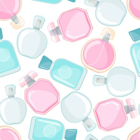 Seamless pattern with perfume bottle in flat style isolated on white background. Vector illustration. Stok Fotoğraf - 135502017