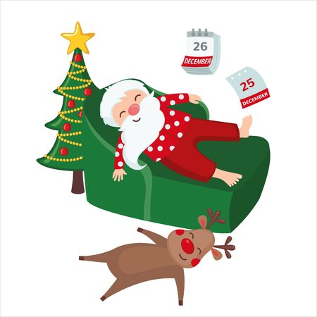 Tired Santa Claus and Deer sleeping on chair in cartoon style isolated on white background. Christmas concept. Vector illustration. Ilustracja