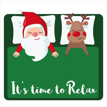 Sleeping Santa Claus and Deer the day after Christmas isolated on white background. Christmas concept. Vector illustration. Ilustracja