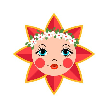 Cute sun icon in flat style isolated on white background as a symbol of Maslenitsa or Shrovetide. National Russian traditional holiday. Design element for cards, posters, banners. Vector illustration.