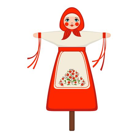 Maslenitsa doll icon in flat style isolated on white background for slavic traditional russian winter festival.Marena doll for Shrovetide posters,cards and banners.Vector illustration.