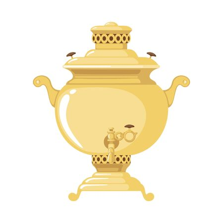 Traditional Russian gold samovar icon in flat style isolated on white background. Culture dish. Design element for cards, posters, banners. Vector illustration. Ilustrace