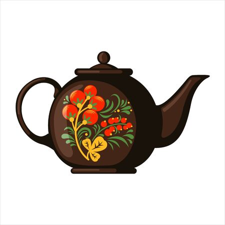 Porcelain teapot with a russian traditional pattern khokhloma isolated on white background. Culture dish. Design element for cards, posters, banners. Vector illustration.