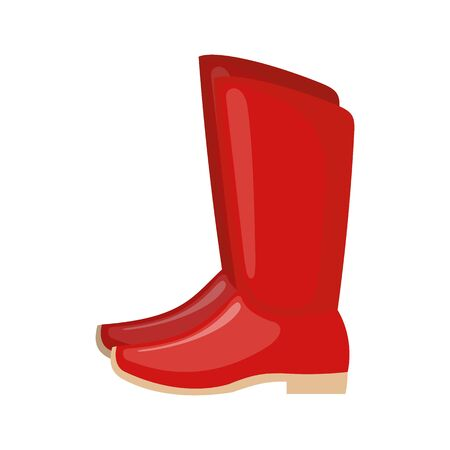 Red Russian boots icon in flat style isolated on white background. National Russian costume. Shoes with heels. Symbol of the holiday Shrovetide or Maslenitsa. Vector illustration.