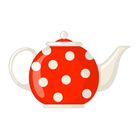Red porcelain teapot with polka dot pattern isolated on white background. Culture dish. Design element for cards, posters, banners. Vector illustration.