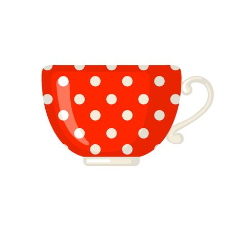 Cute red cup icon with polka dot pattern in flat style isolated on white background. Vector illustration.