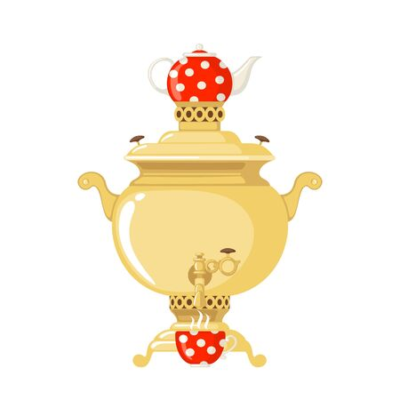Traditional Russian gold samovar with teapot icon in flat style isolated on white background. Culture dish. Design element for cards, posters, banners. Vector illustration. Ilustrace