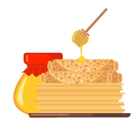 Stack of pancakes with honey icon in flat style isolated on white background. Wooden honey dipper and jar. Traditional russian meal for Maslenitsa holiday. Vector illustration.
