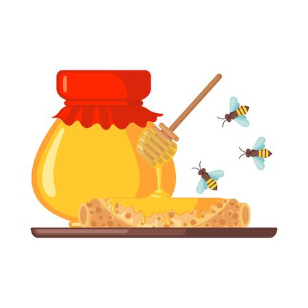Stack of pancakes with honey icon in flat style isolated on white background. Wooden honey dipper, jar and bee. Vector illustration.