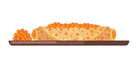 Pancake with red caviar icon in flat style isolated on white background. Russian traditional meal for Maslenitsa or Shrovetide. Vector illustration.