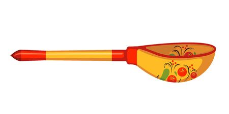 Wooden spoon with Khokhloma painting in flat style isolated on white background. Vector illustration. Ilustrace
