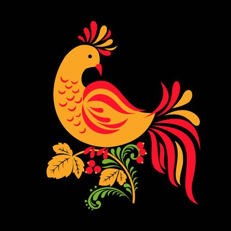 Traditional Russian ornament of Hohloma bird on black background. Vector illustration. Ilustracja