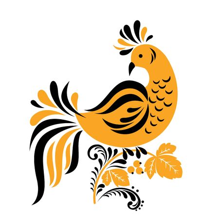 Traditional Russian ornament of Hohloma bird on branch isolated on white background. Vector illustration.