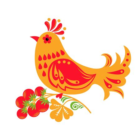 Traditional Russian ornament of Hohloma bird isolated on white background. Vector illustration. Ilustracja