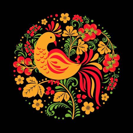 Hohloma bird with floral ornament on black background in round shape. Traditional Russian ornament for print, plate, banner or poster. Ilustracja