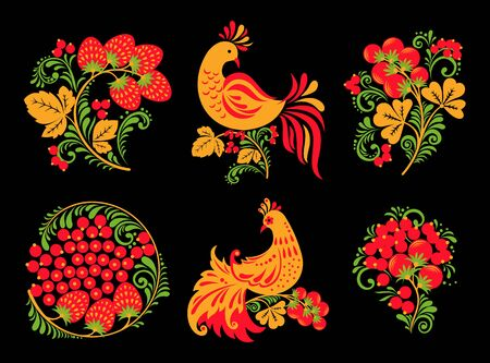 Set of traditional Russian Hohloma ornament with birds and berries on black background. Vector illustration.