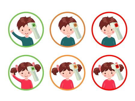 Set of icons with healthy and sick girls and boys with contactless infrared thermometer isolated on white background. Illustration in cartoon style.Flu epidemic concept.Vector illustration.