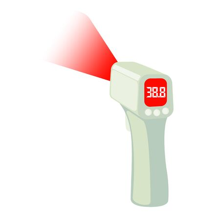 Contactless Infrared Thermometer icon in flat style isolated on white background shows the heat temperature. Vector illustration.