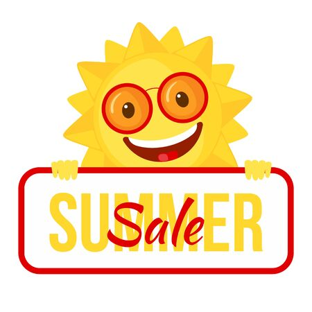 Funny Sun icon in flat style isolated on white background. Summer sale poster or banner. Smiling cartoon sun. Vector illustration. Vettoriali