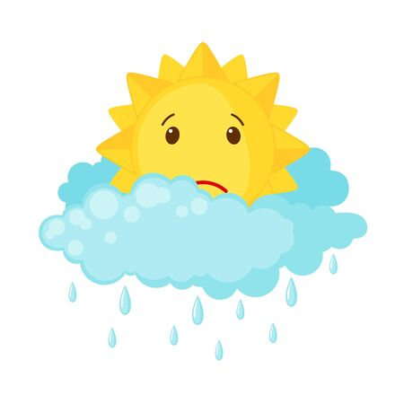Cute sun with clouds and rain isolated on white background. Icon in flat style. Weather concept. Vector illustration. 向量圖像