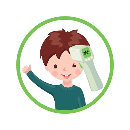 A boy with contactless infrared thermometer wich shows the normal temperature isolated on white background. Illustration in flat cartoon style. Vector illustration.