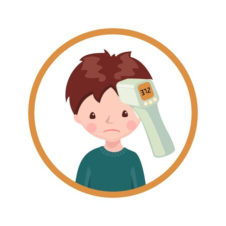 A boy with contactless infrared thermometer isolated on white background.Illustration in flat cartoon style. Vector illustration.