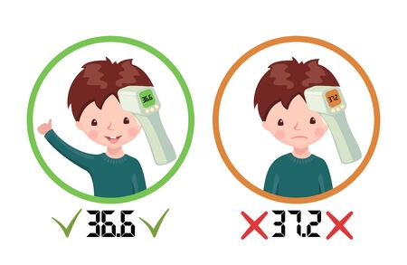 Icons with healthy boy and sick boy with contactless infrared thermometer wich shows temperature isolated on white background. Illustration in cartoon style. Flu epidemic concept. Vector illustration.