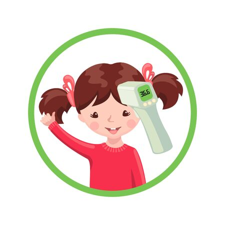 Happy girl with contactless infrared thermometer wich shows the normal temperature isolated on white background. Illustration in flat cartoon style. Vector illustration.