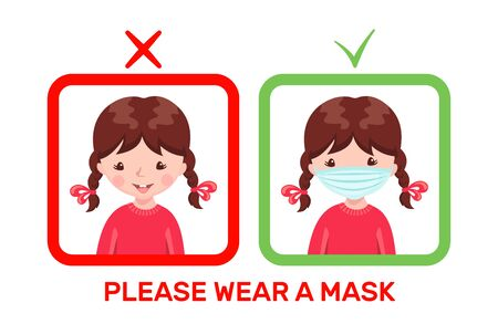 Cute girl with medical mask and without mask in cartoon style isolated on white background. Poster or banner with child in flue mask. Stop epidemic concept. Vector illustration.