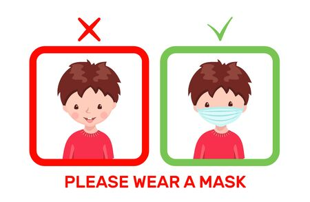 Cute boy with medical mask and without mask in cartoon style isolated on white background. Poster or banner with child in flue mask. Stop epidemic concept. Vector illustration.