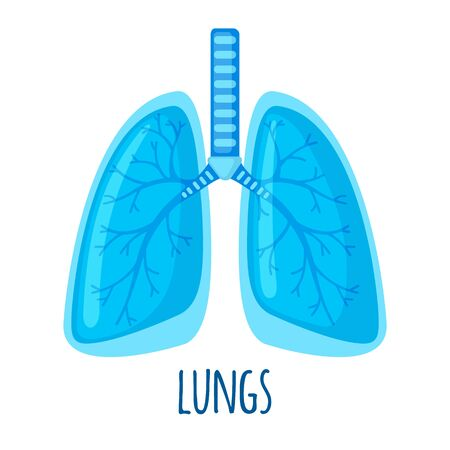 Human Lung icon in flat style isolated on white background. Healtcare and medical concept. Vector illustration.