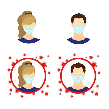 Set of Men and Woman icon with medical mask in flat style isolated on white background. People in flue mask with coronavirus bacteria. Stop epidemic and allergy concept. Vector illustration.