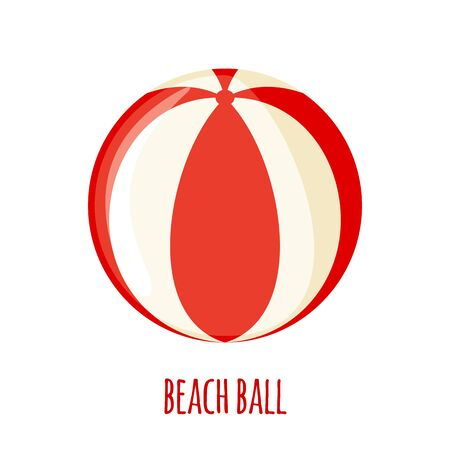 Red and white beach ball icon in flat style isolated on white background. Vector illustration. Illustration
