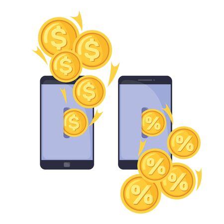 Deposit concept icon in flat style isolated on white background. Interest cash deposit. Vector illustration. Vektorgrafik