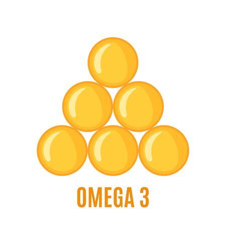 Omega 3 capsules icon in flat style isolated on white background. Vector illustration. Ilustração