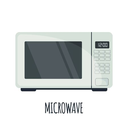 Microwave oven icon in flat style isoated on white background. Vector illustration