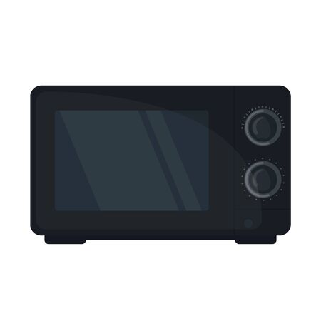 Black Microwave oven icon in flat style isoated on white background. Vector illustration 일러스트
