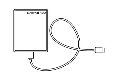 External hard drive disk icon in line art style isolated on white background. Extern HDD. Vector illustration.