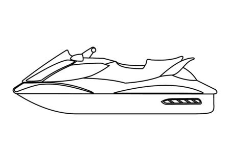 Jet scooter icon in line art style isolated on white background. Water bike. Vector illustration. Vecteurs