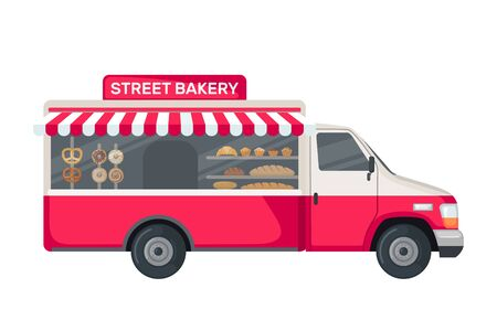 Bakery truck icon in flat style isolated on white background. Food vehicle truck. Vector illustration.