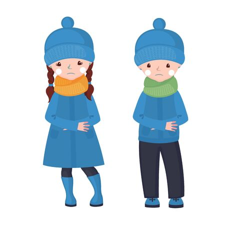 Frostbite girl and boy in cartoon style isolated on white background. Vector illustration.